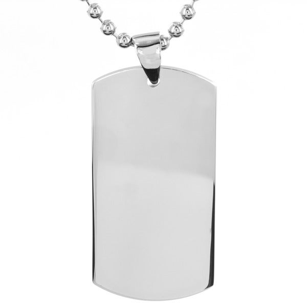 Men's Polished Stainless Steel Dog Tag Pendant on 24 Inch Ball Chain Necklace