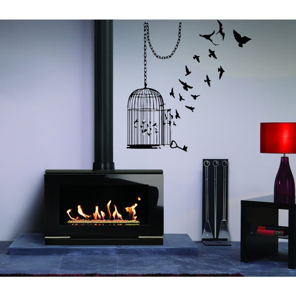 Birds fly out of the cage Wall Art Sticker Decal