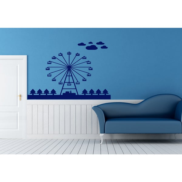 Ferris wheel Wall Art Sticker Decal Blue