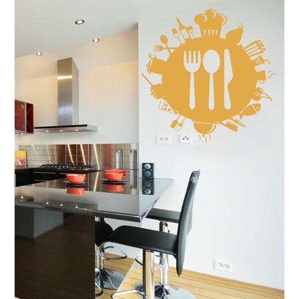 Orange Crown and Utensils Kitchen Wall Art Sticker Decal