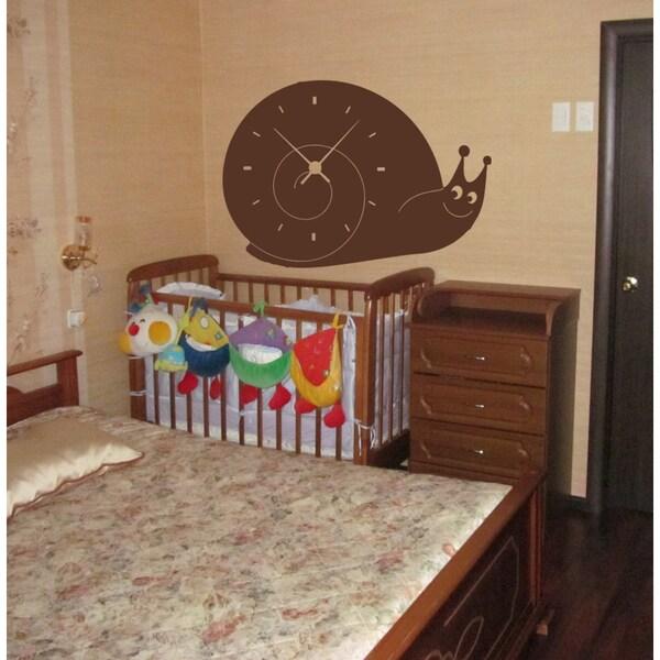 Brown Snail Clock Wall Art Sticker Decal 18255851