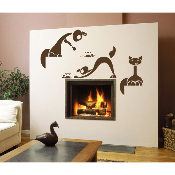 The cat plays with a mouse Wall Art Sticker Decal