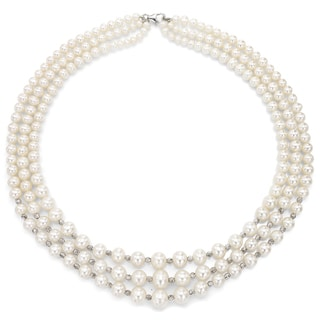 DaVonna Sterling Silver 3-row Graduated 4-8.5mm White Freshwater Cultured Pearl and Pyramid Beads Necklace
