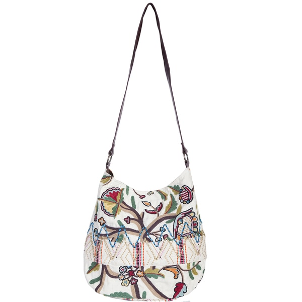 Scully Multi-colored floral embroidery Crossbody Tote Bag