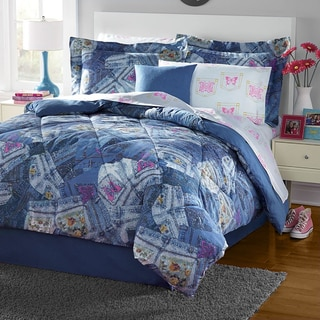 Pocket Full of Butterflies Blue Jean Print Comforter Set