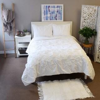 Vue Daelyn Solid White Textured Cotton 3-piece Comforter Set