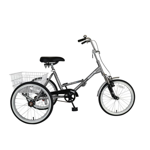 Mantis Tri-Rad 20-inch Adult Folding Tricycle, Silver