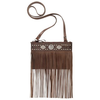 American West Saratoga Brown Leather Crossbody