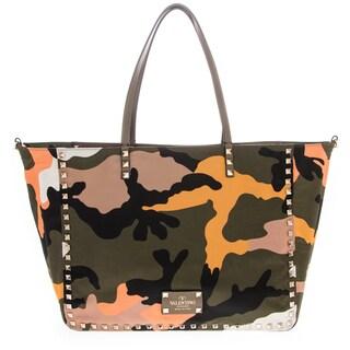 Valentino Rockstud Camouflage Reversible Tote Bag