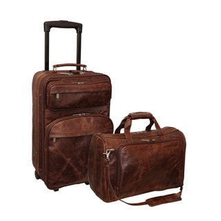 Amerileather Mixed Brown Leather Traveler 2-Piece Carry-On Luggage Set