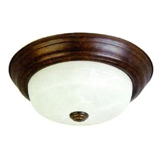 Dark Brown Flush Mount Light Fixture with Alabaster Glass