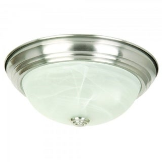 FlushMount Light Fixture in Satin Nickel Finish with Alabaster Glass