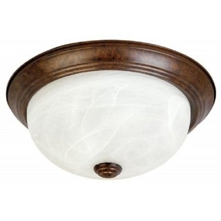 Flush Mount Ceiling Fixture Dark Brown with Alabaster Glass