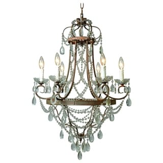 Palais Restoration 6 Light Chandelier Rustic Finish with Crystals