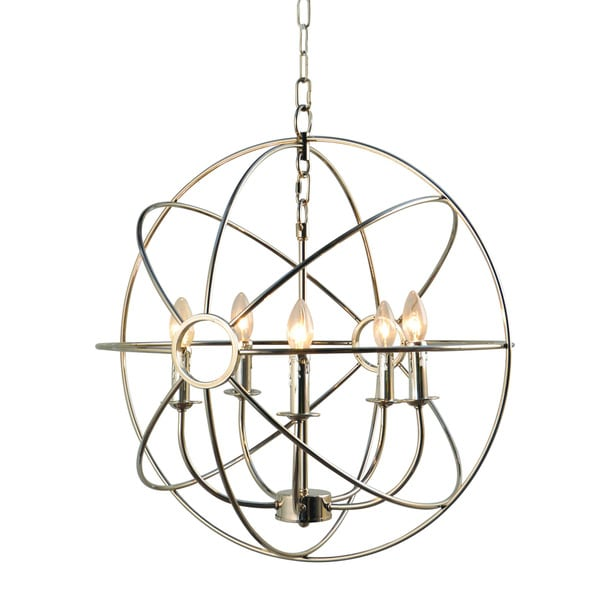 Infinity Orb 5-light Nickel Plated Finish Chandelier Orb Chandelier 18268237
