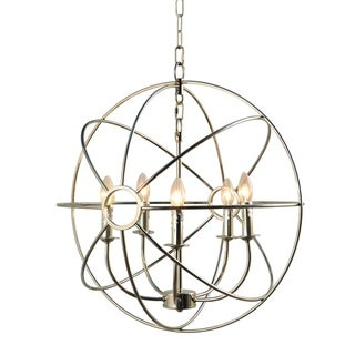 Infinity Orb 5 Lights Chandelier in Nickel Plated Finish