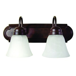 Monica 2 Light Vanity Light Dark Brown Finish with White Alabaster Glass