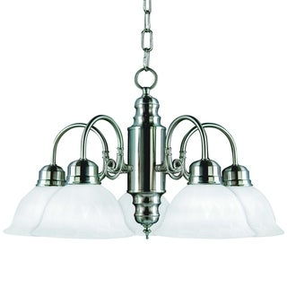 Mike 5 Light Chandelier in Satin Nickel Finish with Frosted Marble Glass