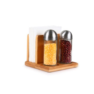 Culinary Edge by Kalorik Premium Bamboo Napkin Holder with Spice Bottles