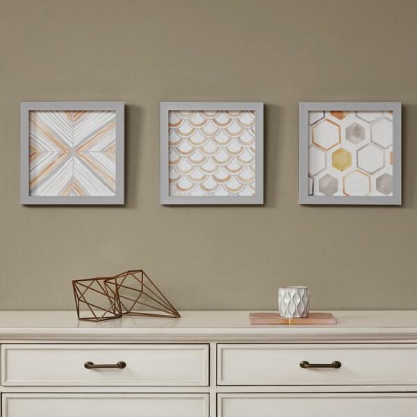 Intelligent Design Sorbet & Grey Framed Gel Coated Paper 3-Piece Set