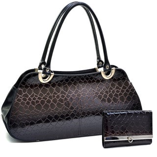 Dasein Snake Skin Embossed Shoulder Bag Handbag Purse & Women's Snake Skin Tri-fold Wallet