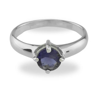 Sterling Silver Iolite Blue Solitaire Ring