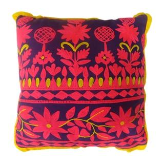 Purple/ Pink/ Yellow Square Rabari Pillows (India)