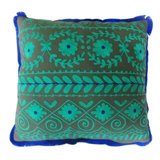 Green/ Navy/ Purple Square Rabari Pillows (India)