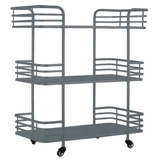 Metal Rectangular 3 Tiered Cart with 4 Casters Coated Finish Gray