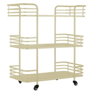 Metal Rectangular 3 Tiered Cart with 4 Casters Coated Finish Cream