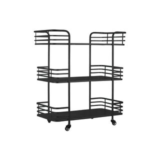 Metal Rectangular 3 Tiered Cart with 4 Casters Coated Finish Black