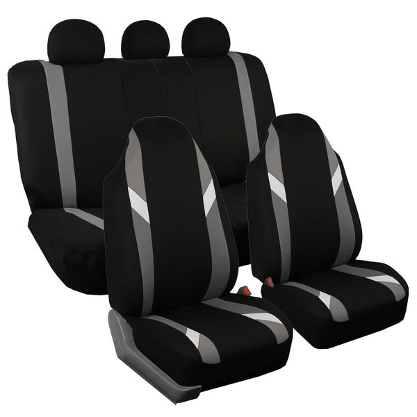 FH Group Modernistic Gray & Black Fabric Auto Seat Covers (Full Set) 18272210
