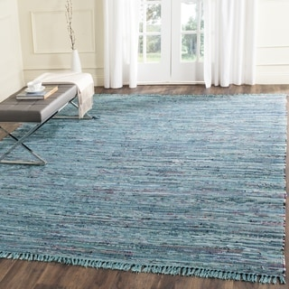 Safavieh Hand-Woven Rag Rug Blue/ Multi Cotton 8 Foot Square Rug