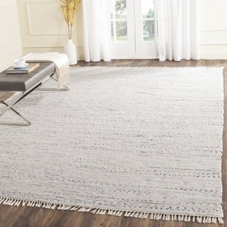 Hand-Woven Safavieh Ivory/ Multi Square Cotton Rag Rug (8' x 8')