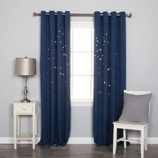 Aurora Home Starry Night Punch Out Blackout Grommet Curtain Panel Pair