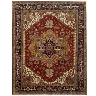 Herat Oriental Indo Hand-knotted Serapi Red/ Navy Wool Rug (9'1 x 12'7)