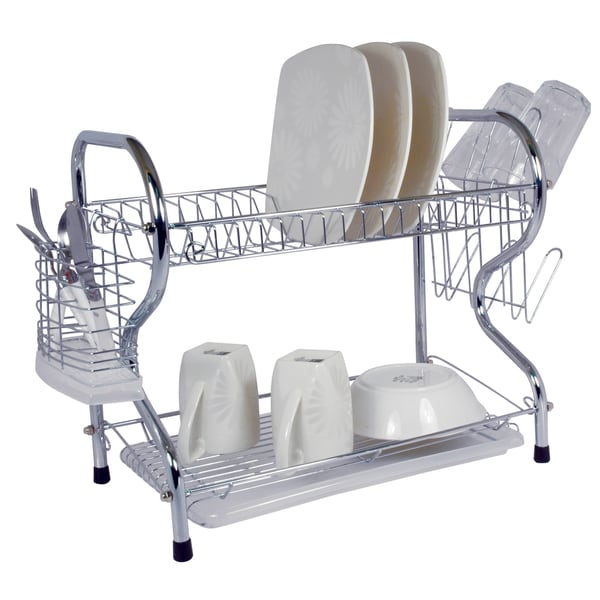 22 Inch Chrome Dish Rack with Utensil Holder, Cup Rack and Tray 18280236