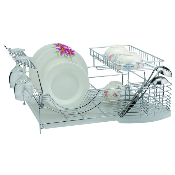 Chrome 18.5 inch Dish Rack with Utensil Holder, Cup Rack and Tray 18280901