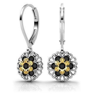 Lucia Costin Sterling Silver Black Swarovski Crystal Earrings with Lovely Ornaments