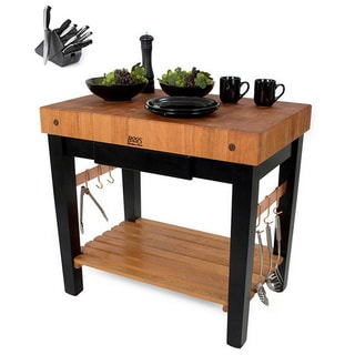 John Boos RN-PPB3030C-D Block End Grain Cherry Top Table With Casters and Drawer 30x30 and Henckels 13 Piece Knife Set