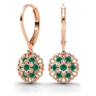 Lucia Costin Sterling Silver Green Swarovski Crystal Earrings with Lovely Ornaments