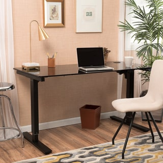Christopher Knight Home Weber 58-inch Adjustable Glass Desk with Single Powered Base