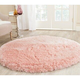 Safavieh Handmade Artic Shag Pink Polyester Rug (7' Round)