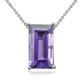 Glitzy Rocks Sterling Silver Gemstone Baguette Solitaire Necklace