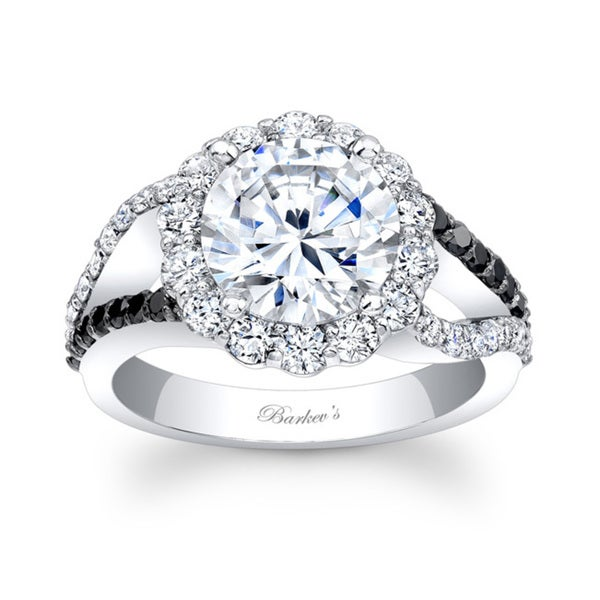 Barkev's Designer 14k White Gold 2 1/5ct TDW Black and White Diamond Halo Engagement Ring (F-G, SI1-SI2)
