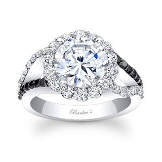 Barkev's Designer 14k White Gold 2 1/5ct TDW Black and White Diamond Halo Engagement Ring (F-G, SI1-SI2)