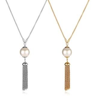 ELYA Faux Pearl Stainless Steel Tassel Pendant Necklace