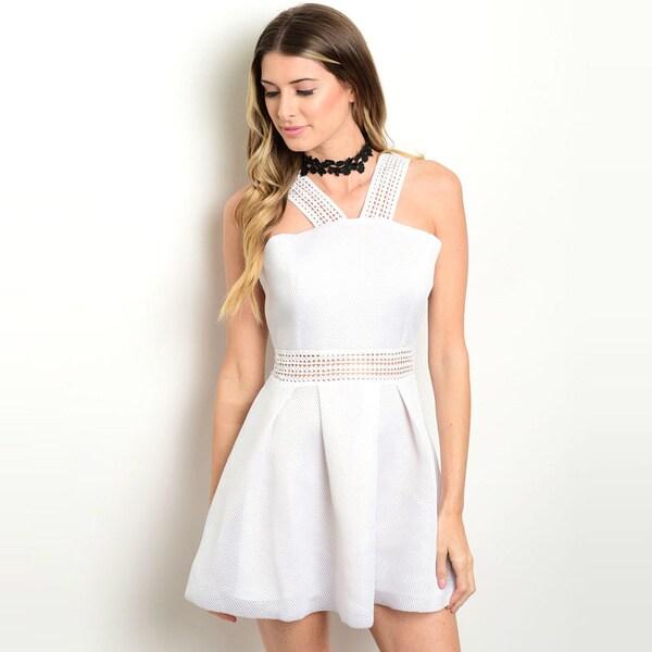 Shop the Trends Women's Sleeveless A-Line Dress With Strap Detail Along Yoke And Cutout Along Waist