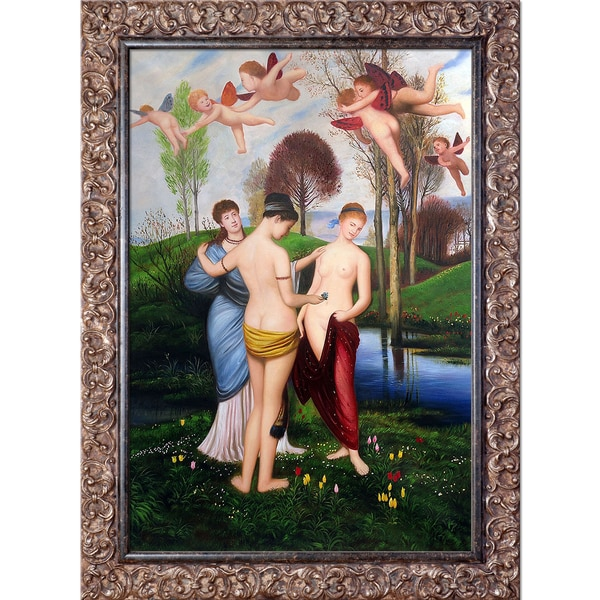 Arnold Bocklin 'Hymn to Spring' Hand Painted Framed Canvas Art