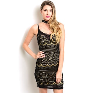 Shop the Trends Women's Black/ Beige Spaghetti Strap Lace Dress